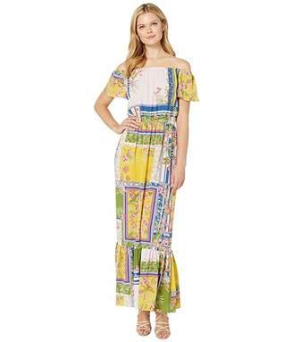 Donna Morgan Mixed Print Off the Shoulder Crepe Maxi Dress