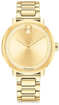Movado BOLD Frosted-Dial Light Gold Ion-Plated Stainless Steel Bracelet Watch