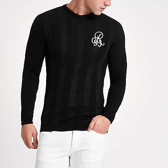 River Island Black rib muscle fit long sleeve sweater