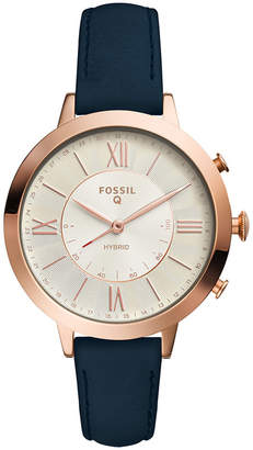 Fossil Q Women Jacqueline Blue Leather Strap Hybrid Smart Watch 36mm