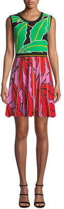 Diane von Furstenberg Parker Pleated Leaf-Print Short Dress
