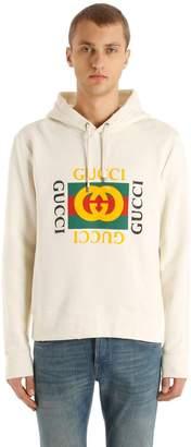 Gucci Logo Printed Cotton Sweatshirt Hoodie