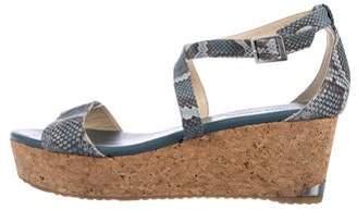 Jimmy Choo Embossed Suede Wedge Sandals