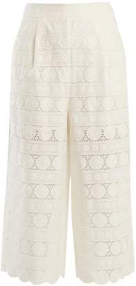 Zimmermann Kali daisy-embroidered wide-leg cotton culottes