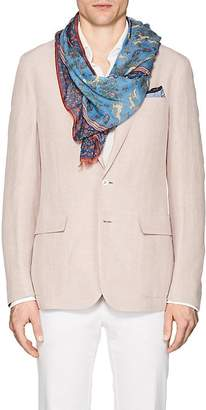 Drakes Drake's DRAKE'S MEN'S HUNTING-PRINT COTTON-BLEND VOILE SCARF