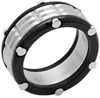 Unbranded Men's Stainless Steel with Black IP-Plated Groove-Cut Ring