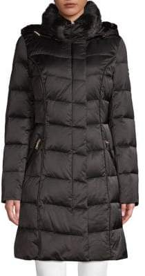 Tahari Faux Fur-Trimmed Down Puffer Coat