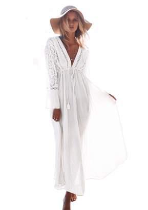 70a75254f2 M_Eshop Summer Womens Beach Wear Cover up Swimwear Bikini Lace Floral Long  Maxi Beach Dress