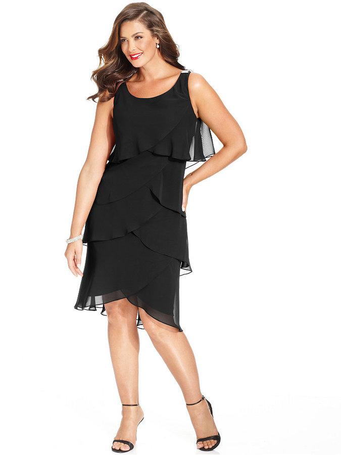 SL Fashions Plus Size Chiffon Tiered Dress