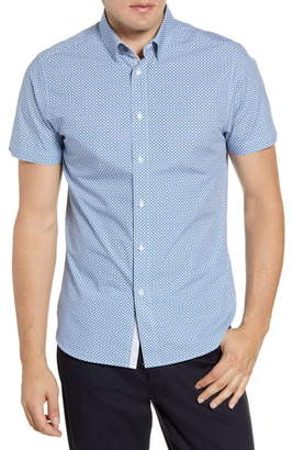 Ted Baker Hibiscus Flower Slim Fit Short Sleeve Shirt