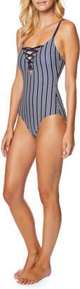 Nautica Wms Swimwear Dock Lines Striped Lace-Up Swimsuit