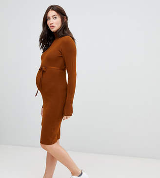 Mama Licious Mama.licious Mamalicious maternity roll neck knitted mini bodycon sweater dress in brown