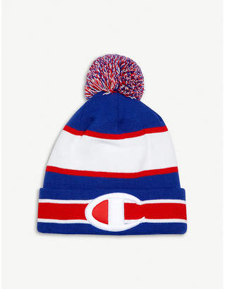 Champion Striped knitted booble beanie