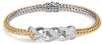 John Hardy Sterling Silver & 18K Bonded Yellow Gold Classic Chain Pavé Diamond Reversible Bracelet