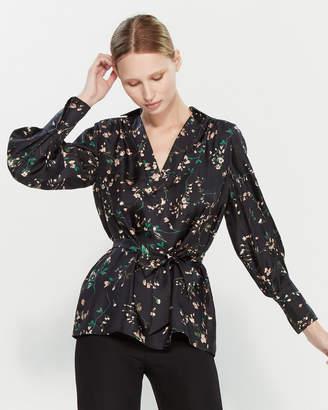 Les Copains Long Sleeve Floral Print Silk Blouse