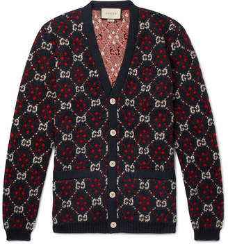 Gucci Logo-Jacquard Alpaca and Wool-Blend Cardigan - Black
