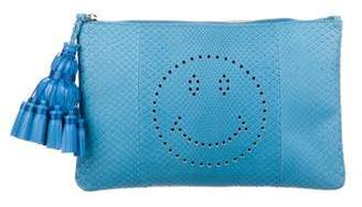 Anya Hindmarch Snakeskin Smiley Clutch