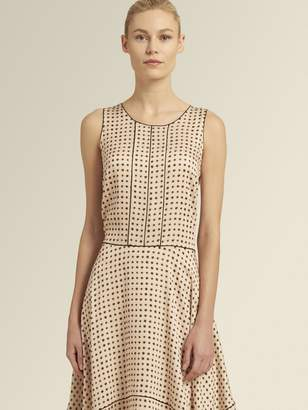 DKNY Printed Trapeze Hem Sleevless Dress