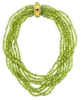 Elizabeth Locke 18K Peridot Multistrand Bead Necklace