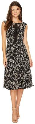 Christin Michaels Maud Sleeveless Floral Dress with Lace Inset Women's Dress