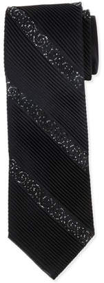 Stefano Ricci Diagonal-Crystals Pleated Silk Tie, Black $1,125 thestylecure.com