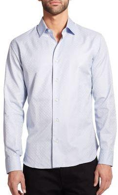 Salvatore Ferragamo Tonal Gancini Button-Down Shirt $410 thestylecure.com