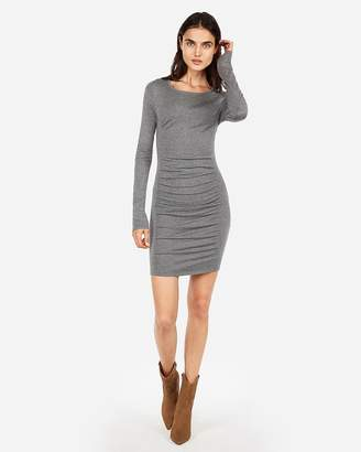 Express Solid Ruched Sweater Dress