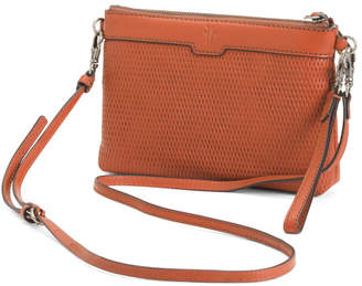 Lena Perforated Wristlet Leather Crossbody