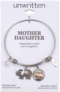 Unwritten Double Elephant Crystal Charms Adjustable Bangle Bracelet in Two-Tone Stainless Steel
