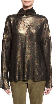 Tibi Sequin Funnel-Neck Long-Sleeve Top
