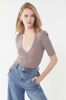 Urban Outfitters Mel Plunging Puff Sleeve Top