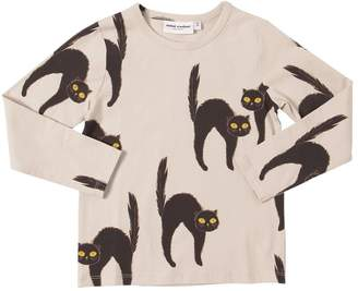 Mini Rodini Cat Print L/s Organic Cotton T-shirt