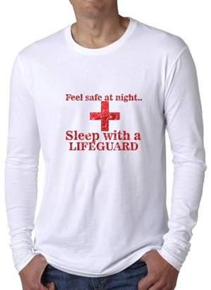 Hollywood Thread Hilarious Feel Safe At Night Sleep With A Lifeguard Men's Long Sleeve T-Shirt