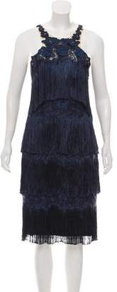 Marchesa Fringe Halter Dress
