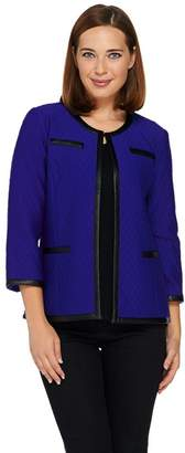 Joan Rivers Classics Collection Joan Rivers Quilted Knit 3/4 Sleeve Jacket w/ Faux Leather Trim