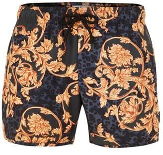 Topman Mens Navy Baroque Print Swim Shorts