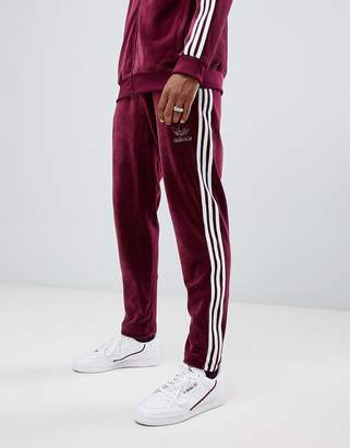 adidas Velour Joggers In Red DH5784