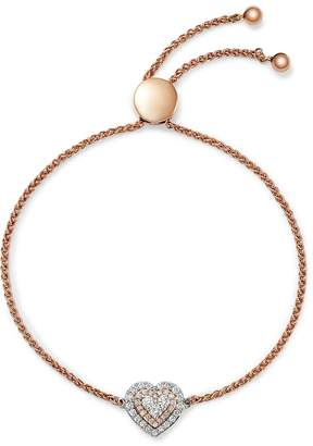 Bloomingdale's Diamond Heart Bolo Bracelet in 14K White Gold & Rose Gold, 0.50 ct. t.w. - 100% Exclusive