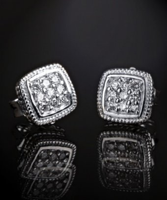 Judith Ripka diamond pave and silver square stud earrings