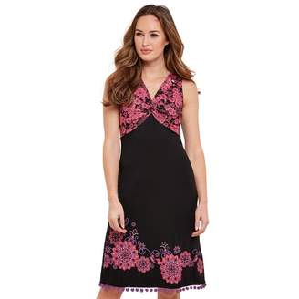 Joe Browns Pink Printed Jersey 'Cheeky Twist' V-Neck Knee Length Dress
