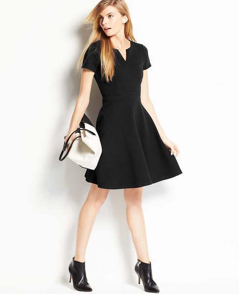 Ann Taylor Tall Split Neck Skirt Dress
