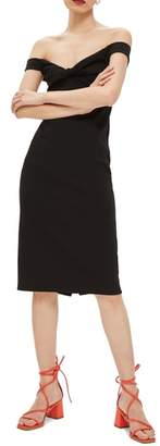 Topshop Twist Front Bardot Dress