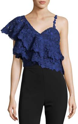 Alice + Olivia Saba One-Shoulder Lace Ruffle Crop Top