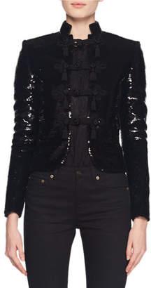 Saint Laurent Stand-Collar Frog-Closure Short Boxy Sequin Jacket