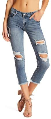 Just USA Distressed Frayed Hem Cropped Skinny Ankle Jean (Juniors) $59.99 thestylecure.com