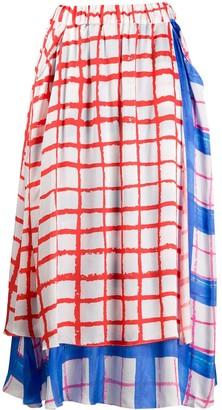 Mira Mikati layered plaid skirt