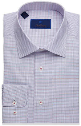 David Donahue Men's Regular-Fit Micro-Check Dress Shirt