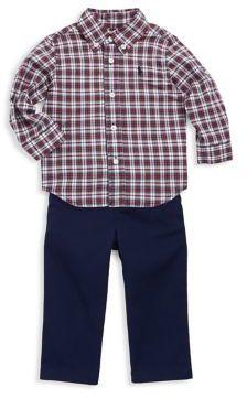 Ralph Lauren Childrenswear Baby Boy's Three-Piece Plaid Shirt, Chino Pants And Belt Set