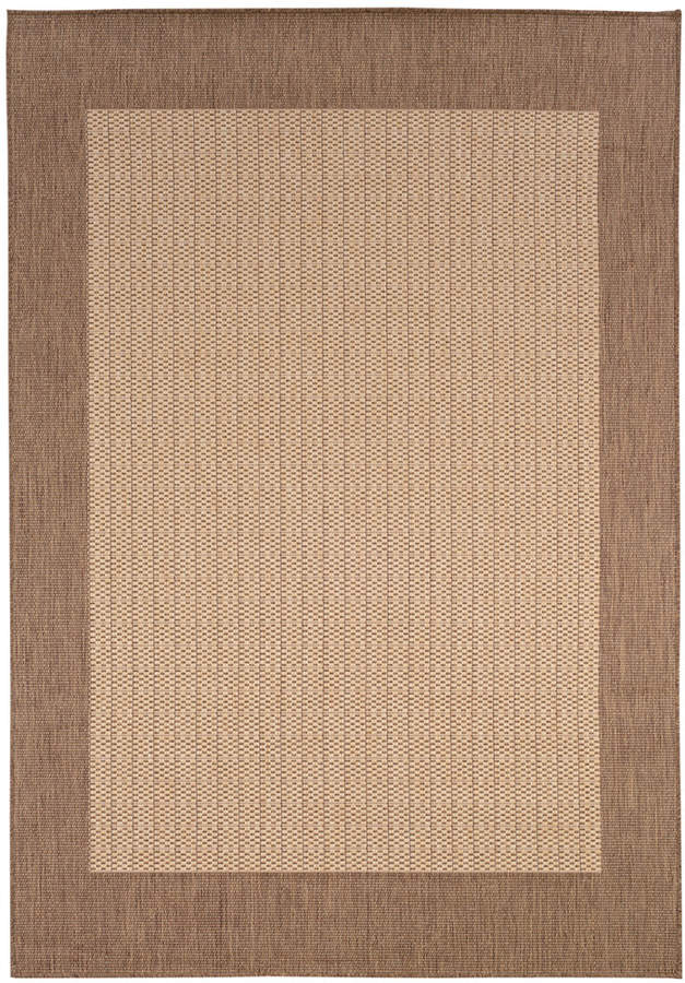 "Couristan Couristan Area Rug, Indoor/Outdoor Recife Collection Checkered Field Natural-Cocoa 5' 3"" x 7' 6"""
