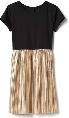 Gap Mix-fabric gold pleated dress